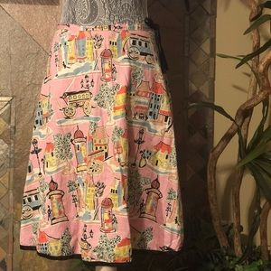 Dema Pink Print Circle Skirt Size Medium